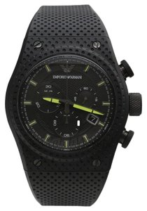 Emporio Armani AR6120 Emporio Armani Sport Men Watch Black Rubber Chronograph Lime Accents