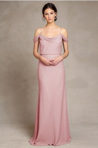 6ee84c3e0c1 Jenny Yoo Whipped Apricot Stretch Crepe Sabine Traditional Bridesmaid Mob  Dress Size 4 (S