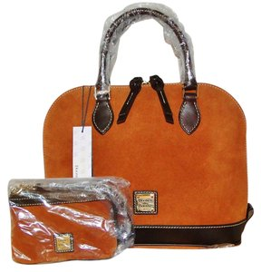 Dooney & Bourke Suede Wristlet Set Satchel in Honey