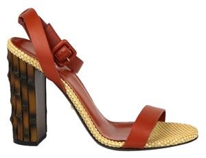 Gucci Leather Bamboo 338750 Rust Sandals