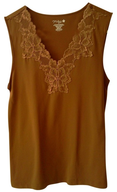 1 Madison Intimates Lace Trim Top Brown