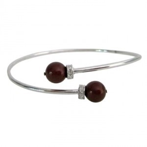 Silver Red Inspired Design Wine Color Pearls Cuff Superb Price Bracelet