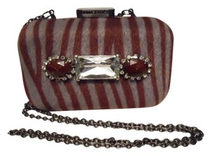 Kirna Zabete grey & burgandy Clutch