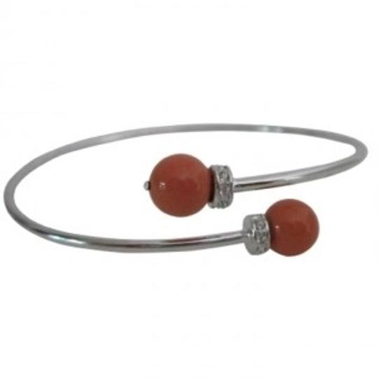 Silver Orange Coral Cuff Fall Christmas Bracelet