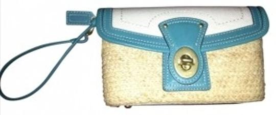 Preload https://item1.tradesy.com/images/coach-tanbeigeturquoise-canvaswoven-straw-clutch-166185-0-0.jpg?width=440&height=440