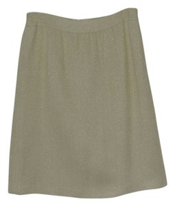Escada New $895 Spring Career Skirt pale yellow & gold