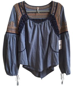 Free People Embroidered Bohemian Peasant Blouse Top river blue