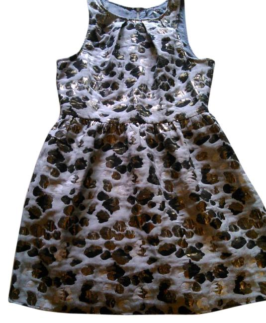 Item - Graphite with Gold Accents Black & Silver Pleated Neckline Sleeveless Knee Length Short Casual Dress Size 12 (L)