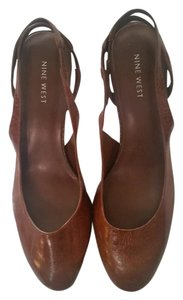 Nine West Sling Back Vintage Tan Leather Pumps