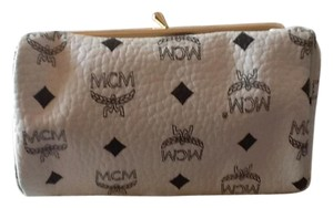 MCM Authentic MCM makeup cosmetic bag w/ mirror white signature pebbled leather with black MCM logo