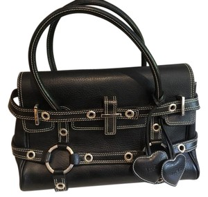 Luella Leather Contrast Satchel in black