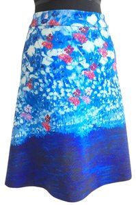 Clover Canyon A Line Fit & Flare Graphic Skirt blue