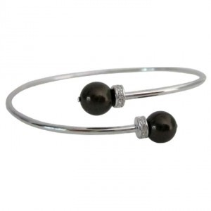 Silver Brown Deep Chocolate Pearls Cuff Bracelet