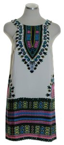 Tibi short dress Ivory Silk Sleeveless Print Shift on Tradesy