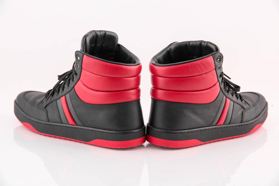 4c5f780cf66 Gucci Black Red Green   Leather High-top Sneaker Mens Sneakers. Size  US 11  ...