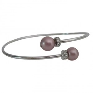Silver Pink Anniversary Gift Powder Rose Color Pearls Cuff Bracelet
