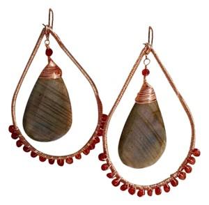 Other Zebra Labradorite & Garnet Rose Gold Earrings