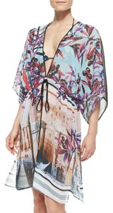 Clover Canyon Olive Tree Print Swim Coverup Drawstring Tunic Dress