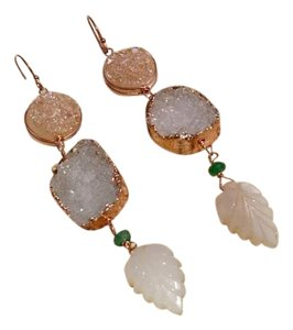 Druze & Emerald Rose Gold Earrings With Moonstone Leaves