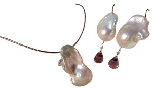 Other Baroque Pearl, Amethyst & Emerald Rose Gold Earrings