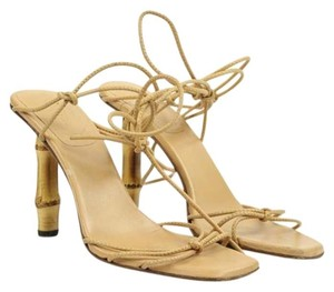 Gucci Bamboo Sandals Gladiator Wrap Beige Nude Pumps