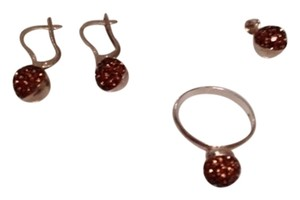 Silver & amber colored stones earring, ring and pendent set