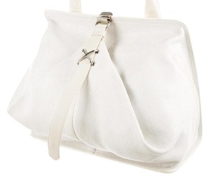Alexander Wang Leather Pebbled Satchel in White