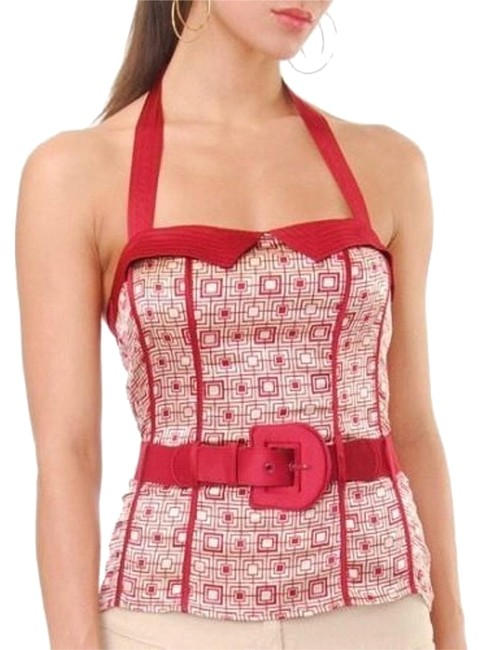 Item - Red Echo Geometric Mod Print Belted Silk Retro Halter Top Size 6 (S)