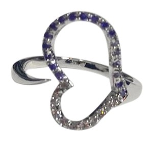 Other New 14K White Gold Filled Open Heart Ring Purple Cubic Zirconia J2686
