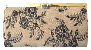 Jimmy Choo Camille Lace & Leather Beige Clutch