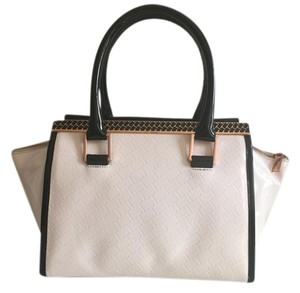 Ted Baker Color-blocking Patent Rose Gold Structured Tote in Nude Pink