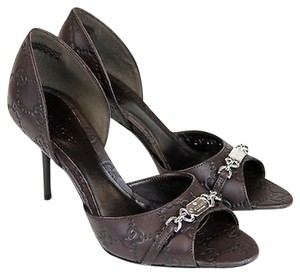 Gucci Leather Open Toe 317029 Chocolate Guccissima Pumps