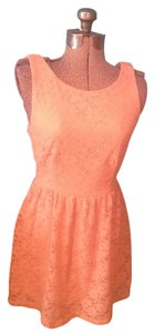 Mystic short dress Peach Lace Nwt Zipper Eyelet on Tradesy