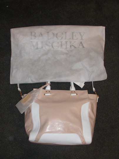 Badgley Mischka 2 Handles Shoulder Strap Tote in pink white