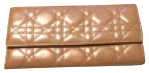 Dior Rendezvous Cannage Wallet WOC dark beige nude patent leather