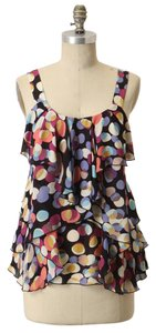 Anthropologie Silk Ruffle Polka Dot Sleeveless Top