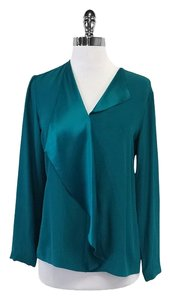 Lafayette 148 New York Teal Silk Single Ruffle Long Sleeve Shirt Sweatshirt