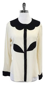 Moschino Cheap & Chic Black Cream Button Up Button Down Shirt
