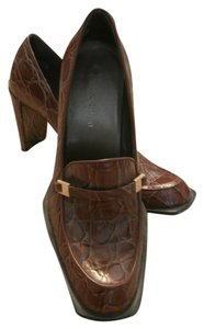 Enzo Angiolini Heels Chunky Crocodile Alligator Golden Brown with reptile texture Pumps