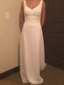 Alfred Angelo White New Beaded Gown Formal Wedding Dress Size 4 (S)