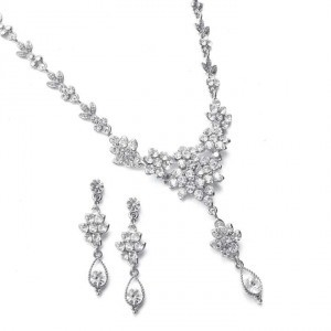 Mariell Silver Crystal Cluster Prom Jewelry Set