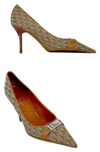 Dior Brown & Tan Signature Canvas Pointed Toe Heels Pumps