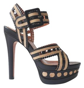 ALAÏA Laser Cut Sandal Leather Suede Black/Beige Platforms