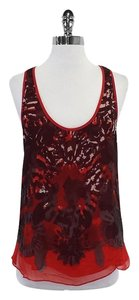 ADAM Red Print Silk Top