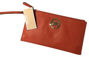 Michael Kors Wristlet Wallet Smoke/pet Free Pebbled Leather Orange Burnt Orange Clutch
