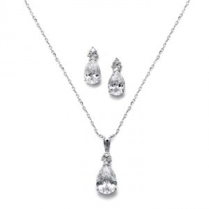 Mariell Silver Bold Pear Cz Necklace Jewelry Set