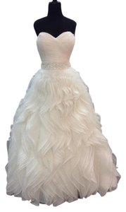 Alfred Angelo Ivory Organza 242-ariel Traditional Wedding Dress Size 10 (M)