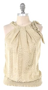 White House | Black Market Metallic Speckled Silk Top Gold