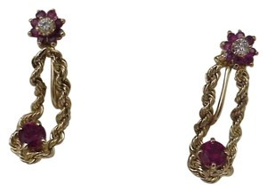 Estate Vintage 14k Yellow Gold 1.50ct Diamonds Rubies Non Pierced Earrings Amazing!!!