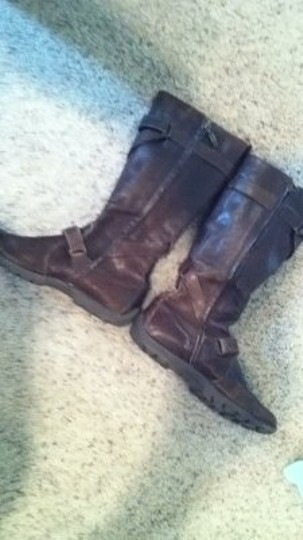romagnoli 6.5 Leather Zip Straps Riding Walking Flat School Tall Zipper Traction brown Boots